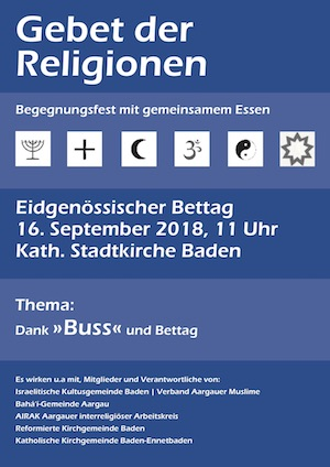 Gebet der Religionen in Baden am 16. September 2018